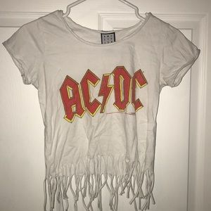 Tops - AC/DC Tee with fringe